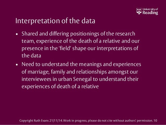 Interpretation of the data • Shared and differing positionings of the research team, experience of the death of a relative...