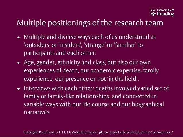 Multiple positionings of the research team • Multiple and diverse ways each of us understood as 'outsiders' or 'insiders',...