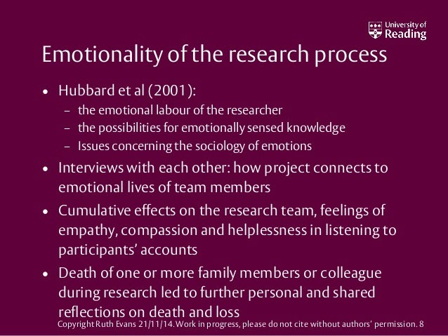 Emotionality of the research process • Hubbard et al (2001): – the emotional labour of the researcher – the possibilities ...