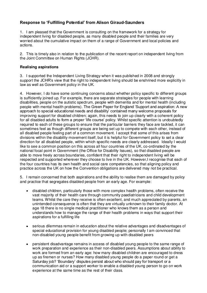 Response to 'Fulfilling Potential' from Alison Giraud-Saunders1. I am pleased that the Government is consulting on the fra...