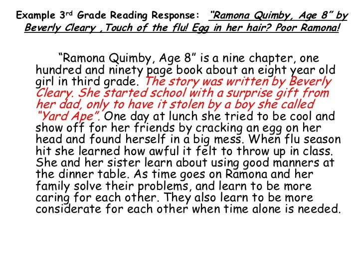 Teaching Response to Literature 3rd grade – Ramona Quimby Age 8 Worksheets