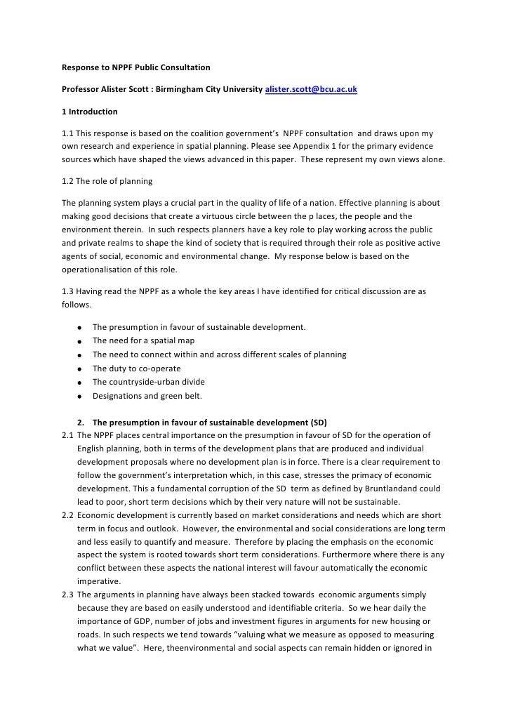 Response to NPPF Public Consultation <br />Professor Alister Scott : Birmingham City University alister.scott@bcu.ac.uk <b...