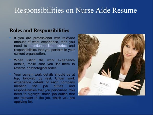 responsibilities on nurse aide. Resume Example. Resume CV Cover Letter