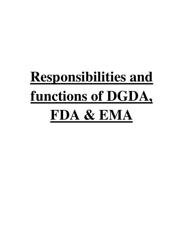 responsibilities and functions of dgda fda ema