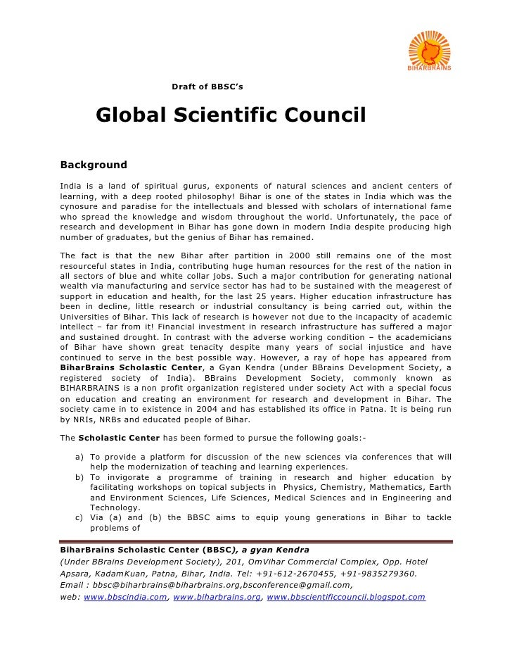 Draft of BBSC's           Global Scientific Council  Background  India is a land of spiritual gurus, exponents of natural ...