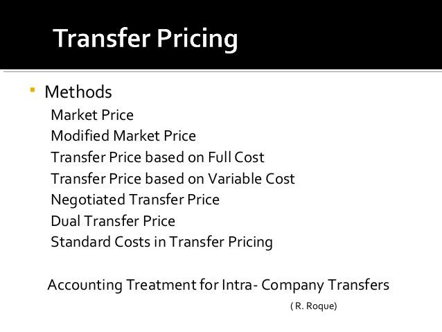  Methods Market Price Modified Market Price Transfer Price based on Full Cost Transfer Price based on Variable Cost Negot...