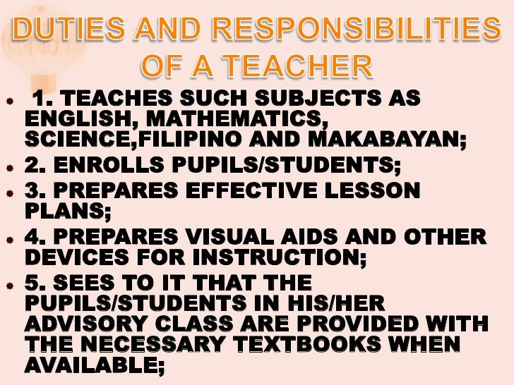 Responsibility and accountability of a filipino teacher