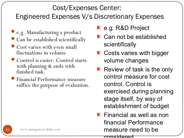 Cost/Expenses Center:       Engineered Expenses V/s Discretionary Expenses      e.g. Manufacturing a product             ...