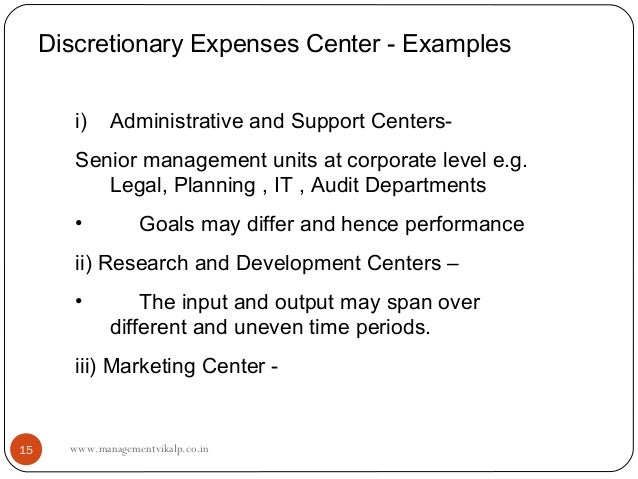 Discretionary Expenses Center - Examples        i)    Administrative and Support Centers-        Senior management units a...