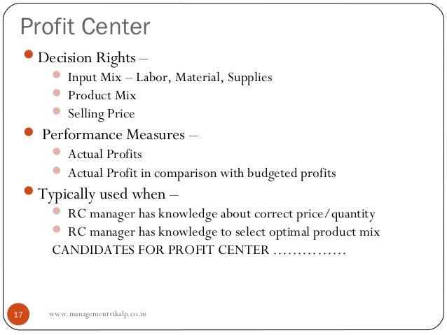 Profit Center Decision Rights –     Input Mix – Labor, Material, Supplies     Product Mix     Selling Price  Performa...