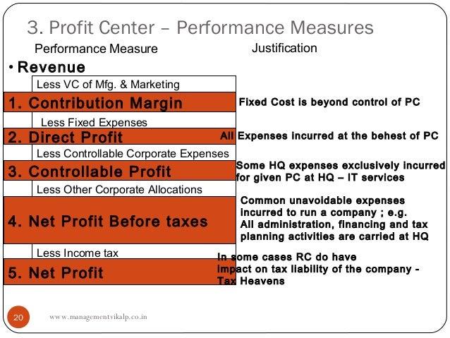3. Profit Center – Performance Measures     Performance Measure                       Justification• Revenue      Less VC ...