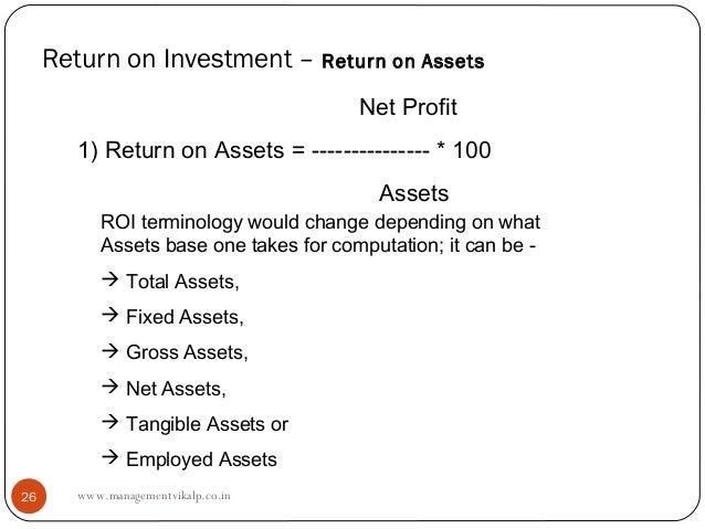 Return on Investment – Return on Assets                                        Net Profit        1) Return on Assets = ---...