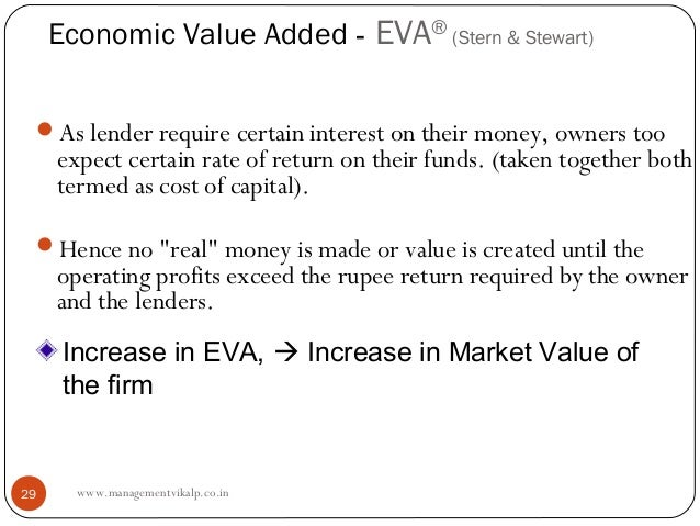 Economic Value Added - EVA® (Stern & Stewart) As lender require certain interest on their money, owners too     expect ce...