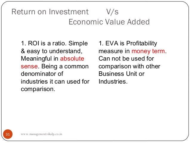 Return on Investment    V/s                    Economic Value Added       1. ROI is a ratio. Simple    1. EVA is Profitabi...