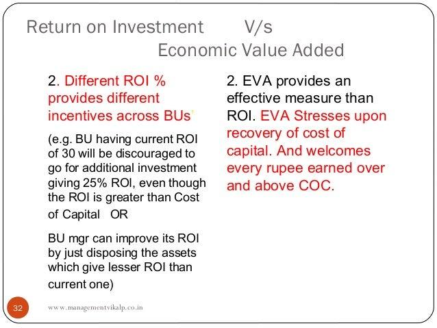 Return on Investment    V/s                    Economic Value Added       2. Different ROI %             2. EVA provides a...