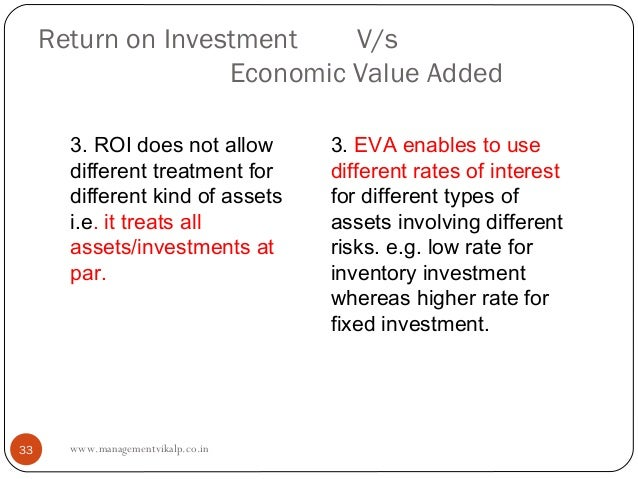 Return on Investment    V/s                    Economic Value Added       3. ROI does not allow        3. EVA enables to u...