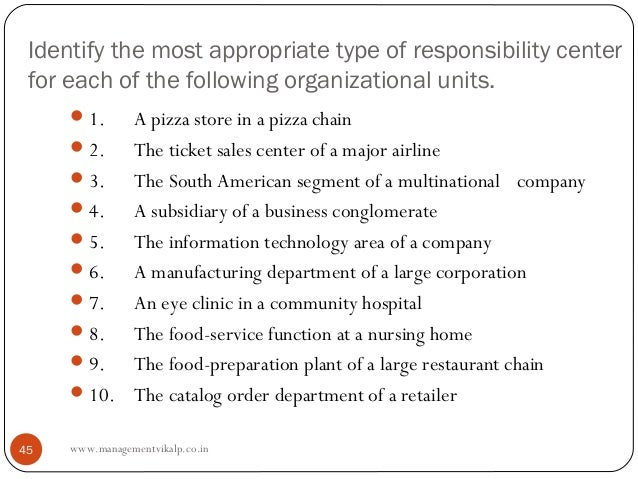 Identify the most appropriate type of responsibility center for each of the following organizational units.      1.  A pi...