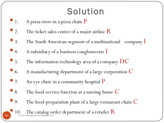 Solution      1.    A pizza store in a pizza chain P      2.    The ticket sales center of a major airline R      3.   ...