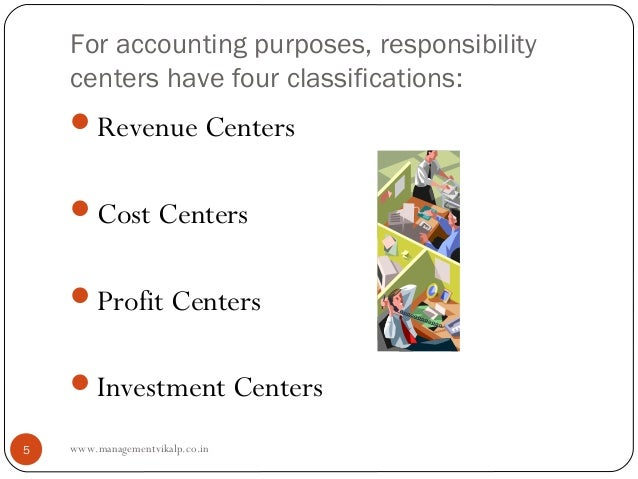 For accounting purposes, responsibility    centers have four classifications:    Revenue Centers    Cost Centers    Pro...