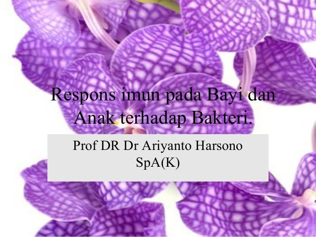 Respons imun pada Bayi dan Anak terhadap Bakteri. Prof DR Dr Ariyanto Harsono SpA(K)
