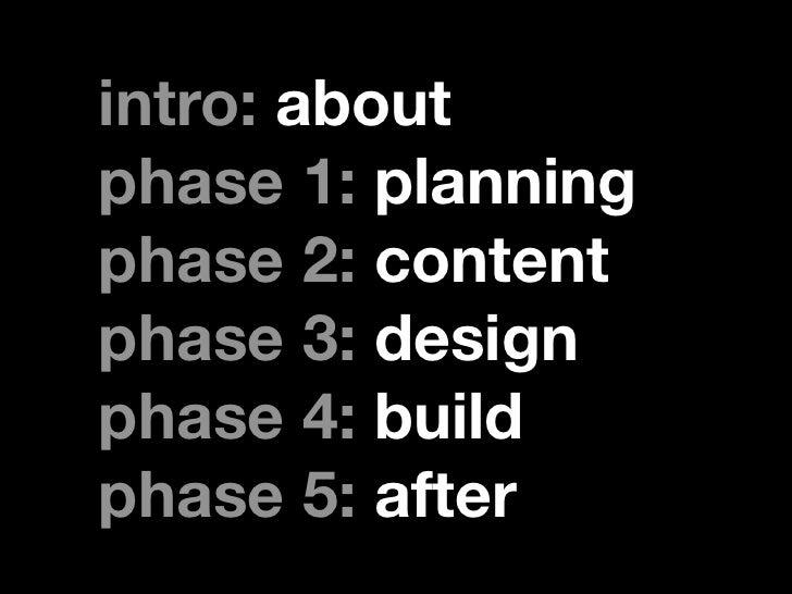 intro: aboutphase 1: planningphase 2: contentphase 3: designphase 4: buildphase 5: after