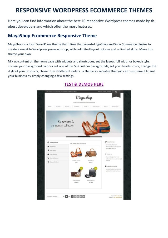 RESPONSIVE WORDPRESS ECOMMERCE THEMESHere you can find information about the best 10 responsive Wordpress themes made by t...
