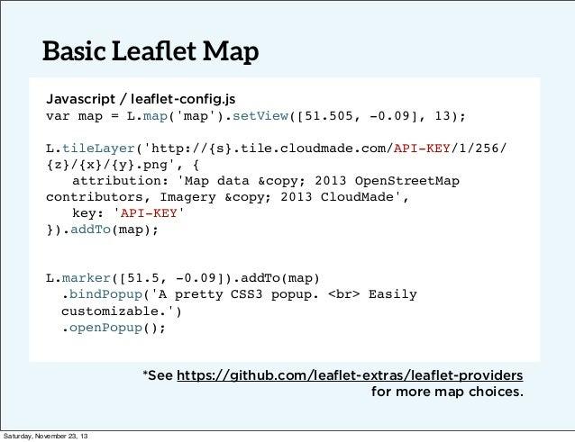 Basic Leaflet Map Javascript / leaflet-config.js var map = L.map('map').setView([51.505, -0.09], 13); L.tileLayer('http://{s}...