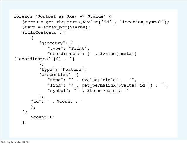 foreach ($output as $key => $value) { ! $terms = get_the_terms($value['id'], 'location_symbol'); ! $term = array_pop($term...