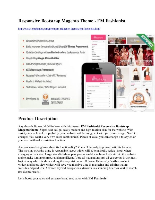Responsive Bootstrap Magento Theme - EM Fashionist http://www.emthemes.com/premium-magento-themes/em-fashionist.html Produ...