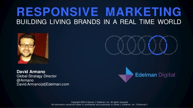 RESPONSIVE MARKETING BUILDING LIVING BRANDS IN A REAL TIME WORLD David Armano Global Strategy Director @Armano David.Arman...