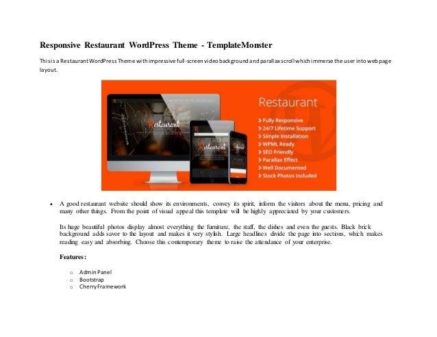 Responsive Restaurant Wordpress Theme Templatemonster