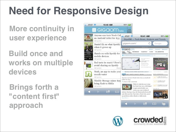 """Need for Responsive DesignMore continuity inuser experienceBuild once andworks on multipledevicesBrings forth a""""content fir..."""