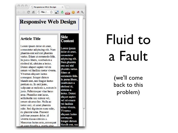 We also need  Fluid Typography body {font-‐size: 100%}    24px ÷ 16px = 1.5em  h1 {font-‐size: 1.5em}tar...