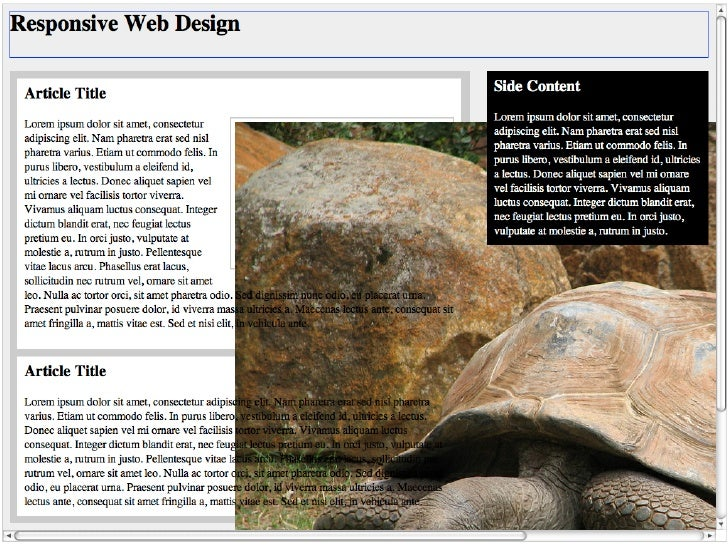 Caveats• max-width doesnt work in IE6• Image scaling hiccups in IE7 & FF2