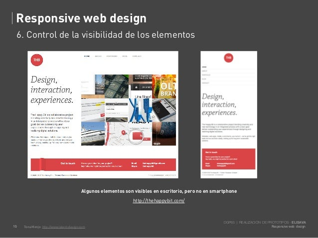 Responsive web design     6. Control de la visibilidad de los elementos                                          Algunos e...