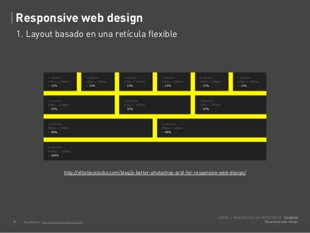 Responsive web design    1. Layout basado en una retícula flexible                               http://elliotjaystocks.co...
