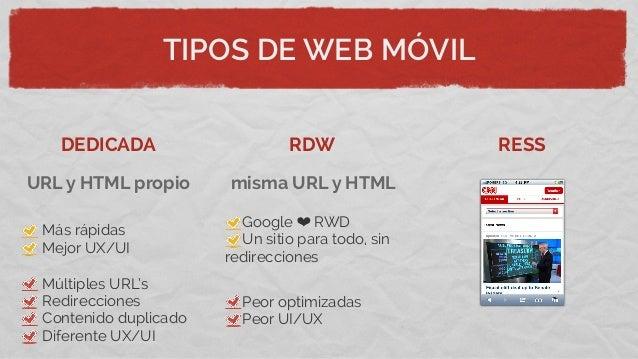 TIPOS DE WEB MÓVILDEDICADA RDW RESSMás rápidasMejor UX/UIMúltiples URL'sRedireccionesContenido duplicadoDiferente UX/UIGoo...