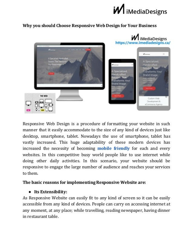 Why​ ​you​ ​should​ ​Choose​ ​Responsive​ ​Web​ ​Design​ ​for​ ​Your​ ​Business Responsive Web Design ​is a procedure of f...