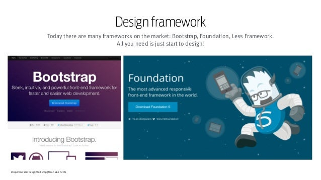 Responsive Web Design Workshop | Milan March 2014 Design framework Today there are many frameworks on the market: Bootstra...