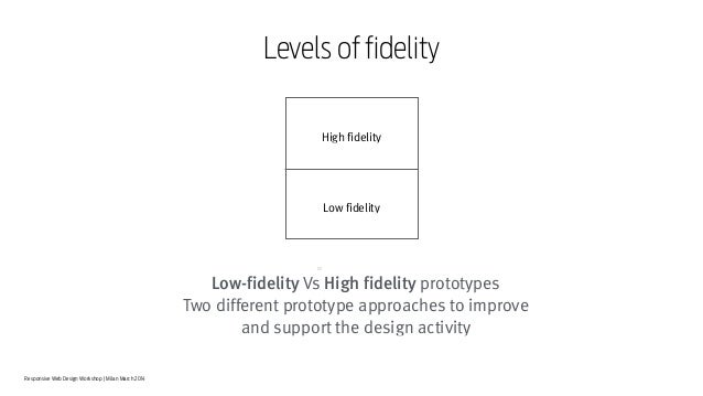 Responsive Web Design Workshop | Milan March 2014 Low-fidelity Vs High fidelity prototypes Two different prototype approac...