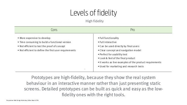 Responsive Web Design Workshop | Milan March 2014 Prototypes are high-fidelity, because they show the real system behaviou...