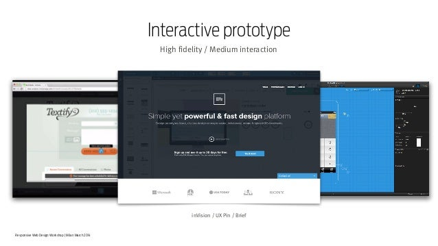 Responsive Web Design Workshop | Milan March 2014 Interactive prototype High fidelity / Medium interaction inVision / UX P...