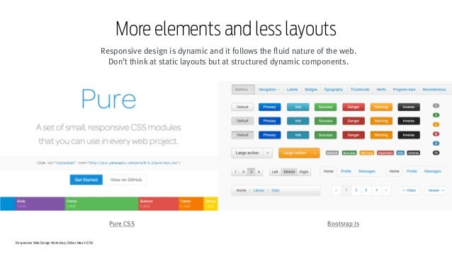 Responsive Web Design Workshop | Milan March 2014 More elements and less layouts Responsive design is dynamic and it follo...