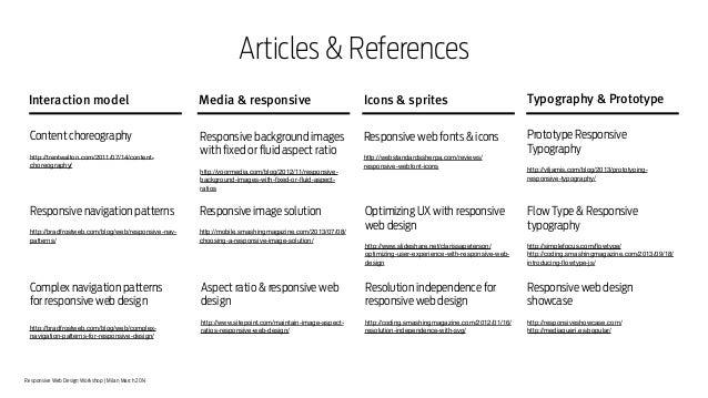 Responsive Web Design Workshop | Milan March 2014 Articles & References Typography & PrototypeInteraction model Media & re...