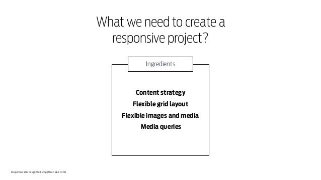 Responsive Web Design Workshop | Milan March 2014 What we need to create a responsive project? Content strategy Flexible g...