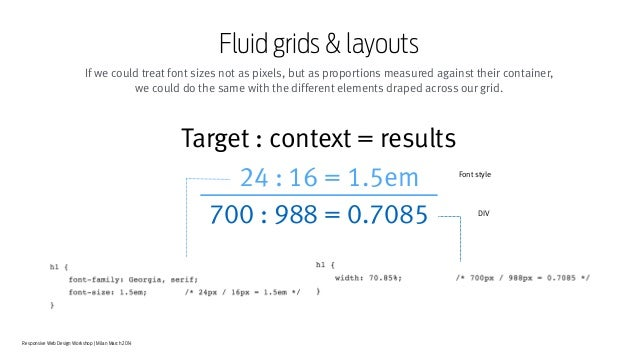 Responsive Web Design Workshop | Milan March 2014 Fluid grids & layouts If we could treat font sizes not as pixels, but as...