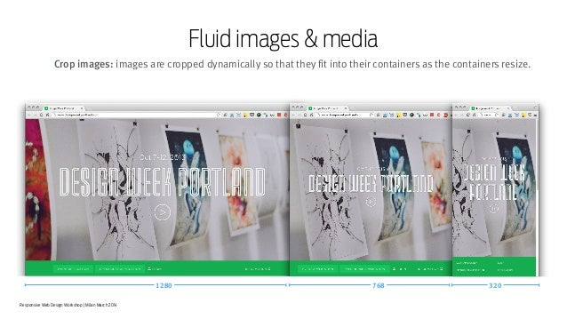 Responsive Web Design Workshop | Milan March 2014 Fluid images & media 1280 768 320 Crop images: images are cropped dynami...