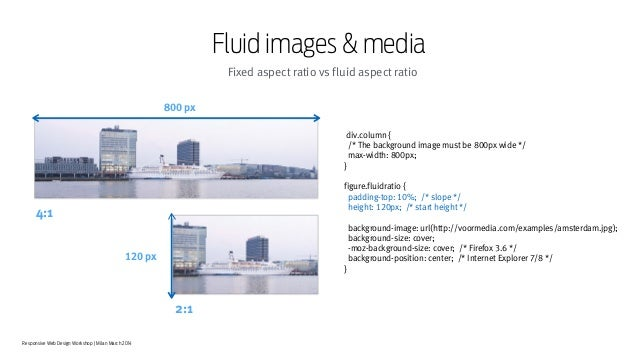 Responsive Web Design Workshop | Milan March 2014 Fluid images & media Fixed aspect ratio vs fluid aspect ratio div.column...