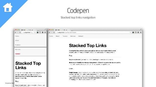 Responsive Web Design Workshop | Milan March 2014 Codepen Stacked top links navigation