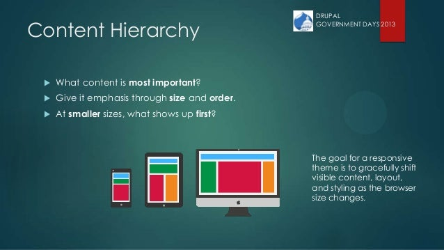 Content Hierarchy  What content is most important?  Give it emphasis through size and order.  At smaller sizes, what sh...